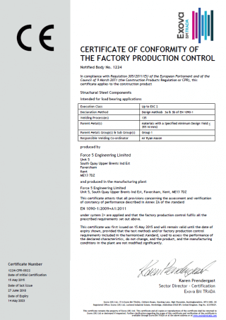 factory production control certificate for Force 5
