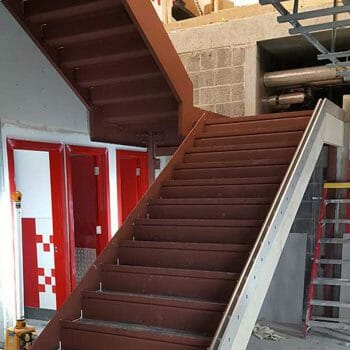 Partially finished staircase installation within London restaurant