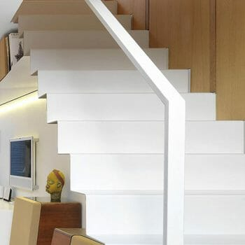 Thin gauge steel staircase finished in white
