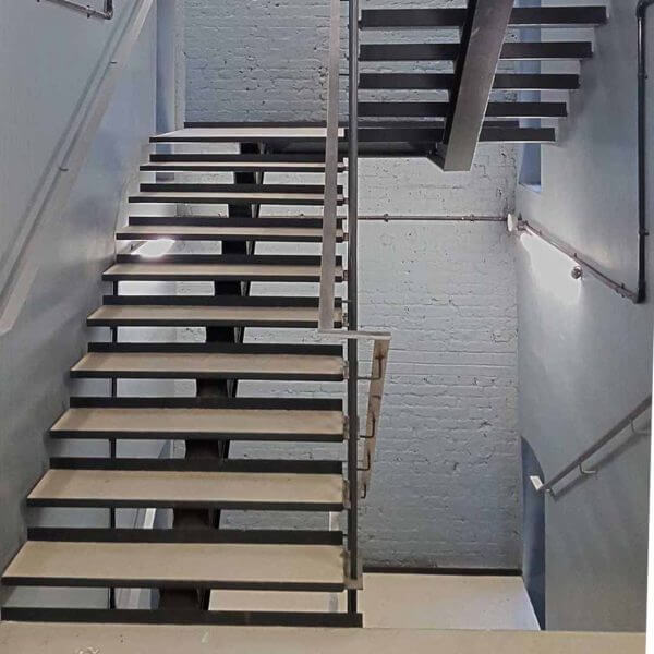 Steel access staircase in London office building